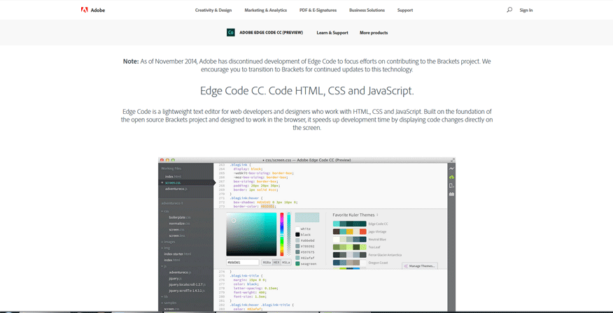 web page development tools