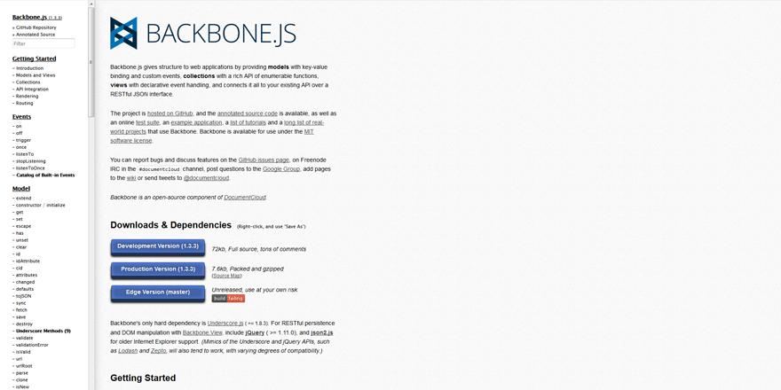 BACKBONE JS web development tools list