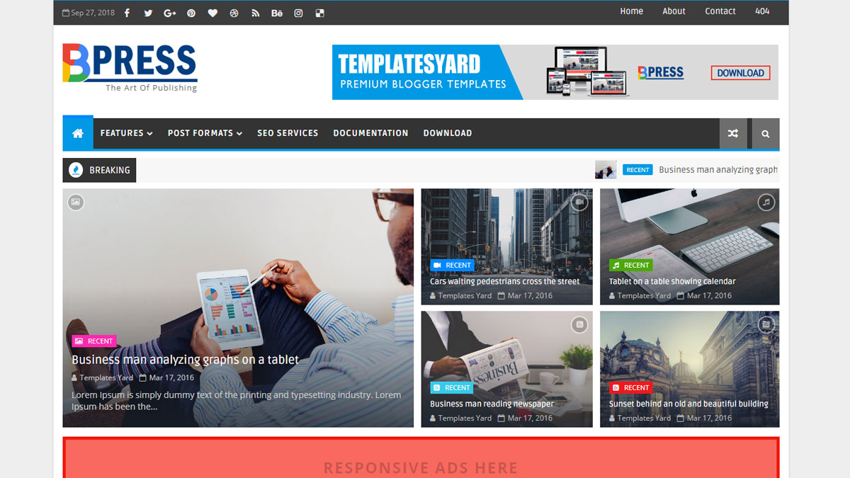 bpress responsive blogger templates