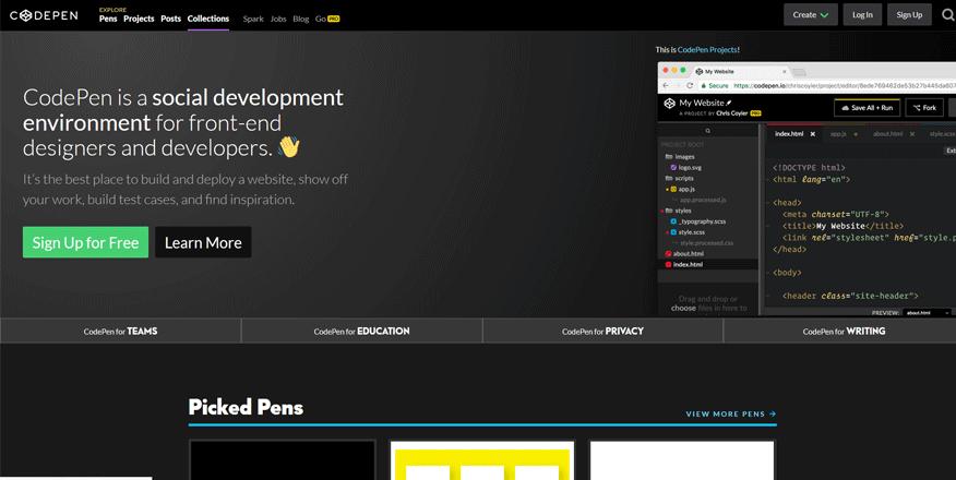codepen web page development tools