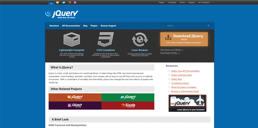 jquery best web development tools list 2018
