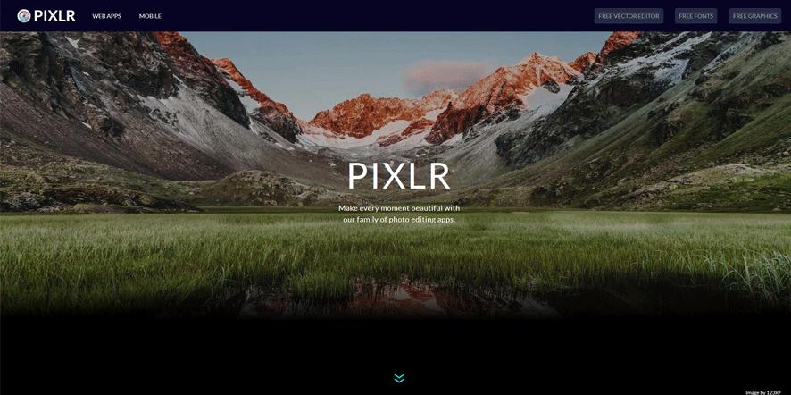 pixlr best web development tools list 2018