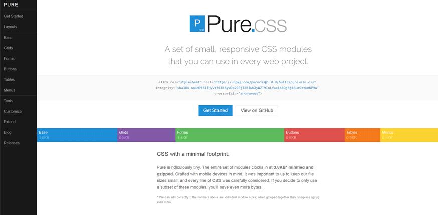 PURE CSS free web development tools