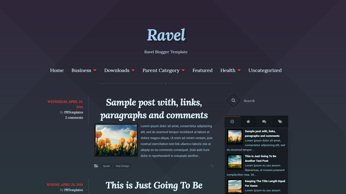 blog layout template