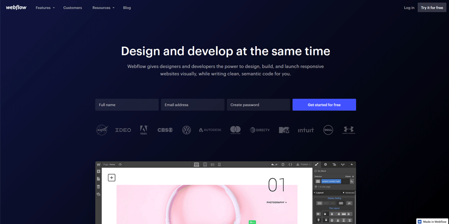 webflow best web application development tools