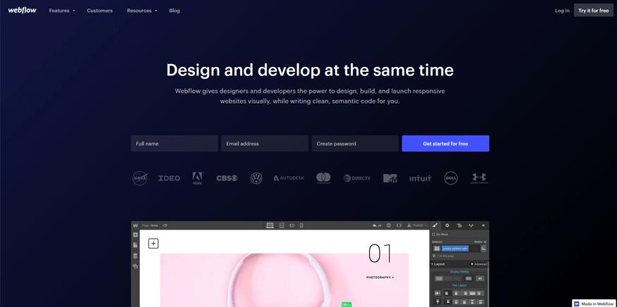 webflow best web application development tools