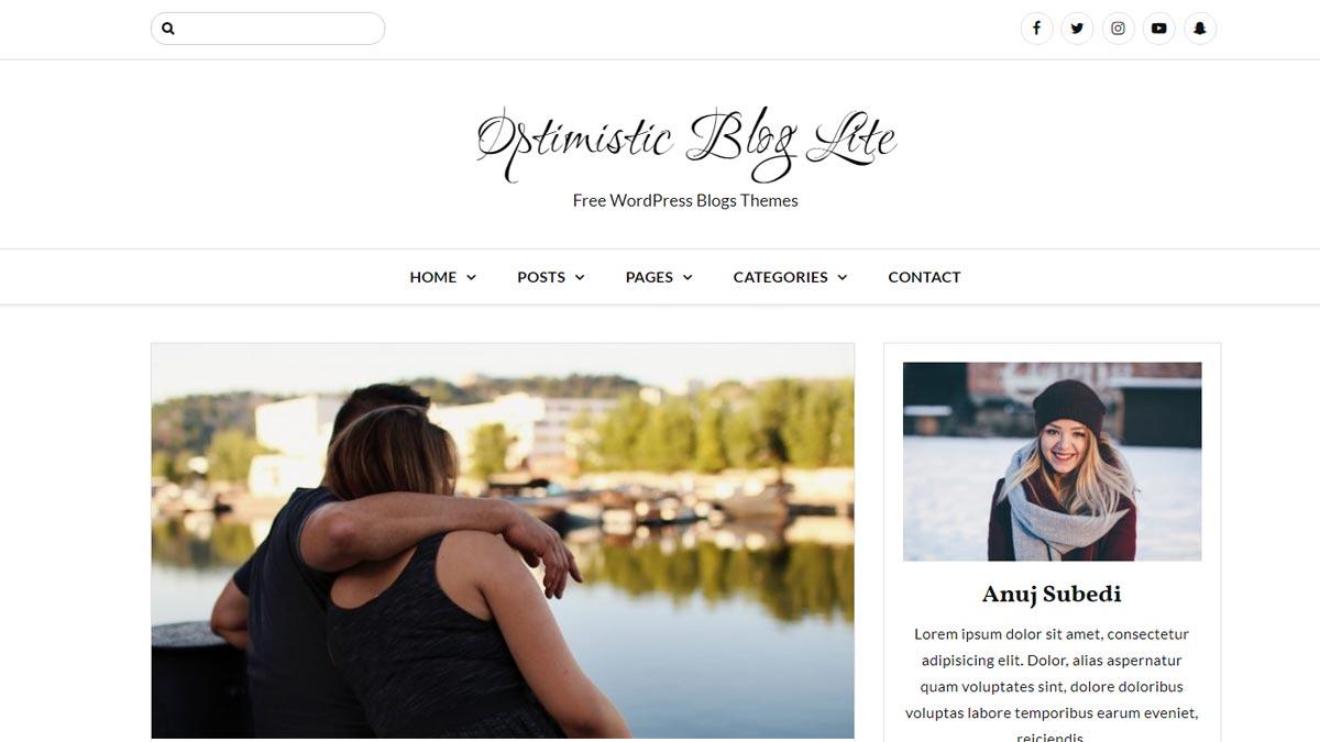 best free wordpress themes - optimistic blog lite